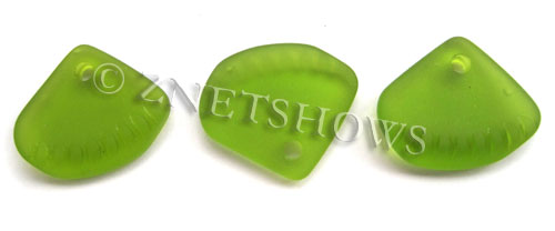 Cultured Sea Glass ridged earring triangle Pendants  <b>24x20mm</b> 22-Olive    per  <b>6-pc-bag</b>