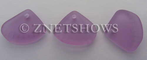 Cultured Sea Glass ridged earring triangle Pendants  <b>24x20mm</b> 39-Periwinkle Changes    per  <b>6-pc-bag</b>