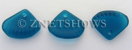 Cultured Sea Glass ridged earring triangle Pendants  <b>24x20mm</b> 82-Teal    per  <b>6-pc-bag</b>