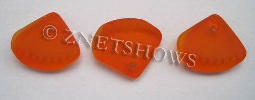 Cultured Sea Glass ridged earring triangle Pendants  <b>24x20mm</b> 83-Tangerine    per  <b>6-pc-bag</b>