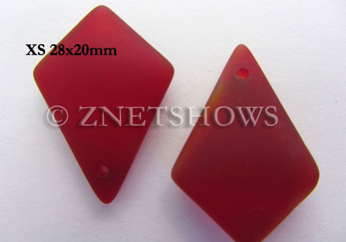 Cultured Sea Glass diamond Pendants  <b>28x20mm</b> 05-Cherry Red earring size  per  <b>12-pc-bag</b>