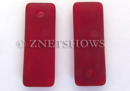 Cultured Sea Glass rectangle puffed Pendants  <b>32x12mm</b> 05-Cherry Red    per  <b>8-pc-bag</b>