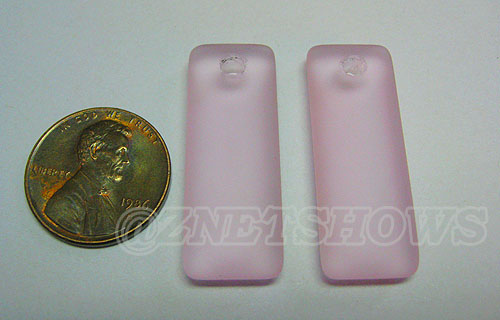 Cultured Sea Glass rectangle puffed Pendants  <b>32x12mm</b> 06-Blossom Pink    per  <b>8-pc-bag</b>