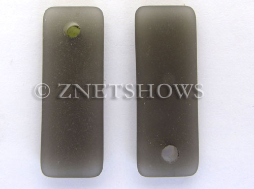 Cultured Sea Glass rectangle puffed Pendants  <b>32x12mm</b> 15-Smoky Quartz     per  <b>8-pc-bag</b>