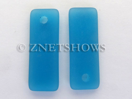 Cultured Sea Glass rectangle puffed Pendants  <b>32x12mm</b> 30-Pacific Blue    per  <b>8-pc-bag</b>