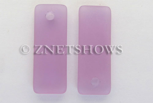 Cultured Sea Glass rectangle puffed Pendants  <b>32x12mm</b> 39-Periwinkle Changes    per  <b>8-pc-bag</b>