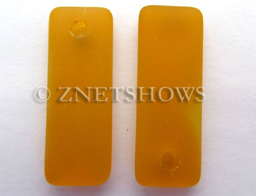 Cultured Sea Glass rectangle puffed Pendants  <b>32x12mm</b> 57-Saffron Yellow    per  <b>8-pc-bag</b>