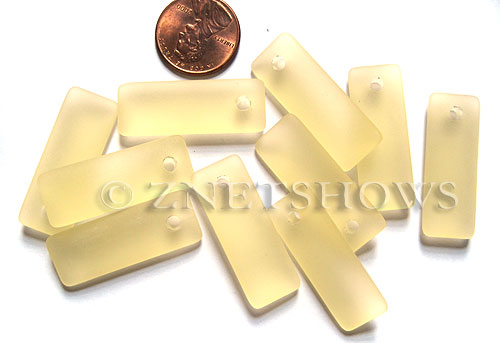 Cultured Sea Glass rectangle puffed Pendants  <b>32x12mm</b> 84-Lemon    per  <b>8-pc-bag</b>