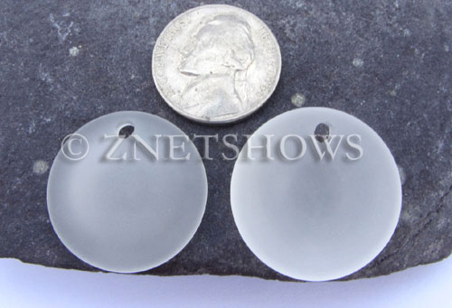 Cultured Sea Glass concaved coin Pendants  <b>25mm</b> 01-Crystal Bottle bottom style  per  <b>12-pc-bag</b>