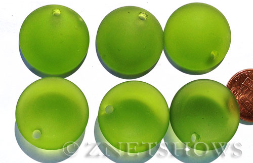 Cultured Sea Glass concaved coin Pendants  <b>25mm</b> 22-Olive Bottle bottom style  per  <b>12-pc-bag</b>