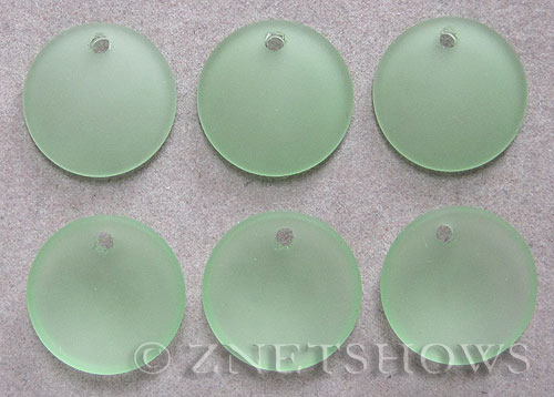 Cultured Sea Glass concaved coin Pendants  <b>18mm</b> 23-Peridot concaved - earring size   per  <b>6-pc-bag</b>