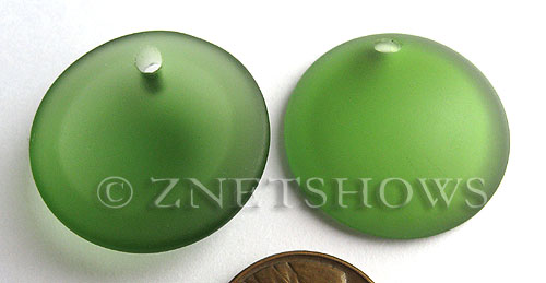 Cultured Sea Glass concaved coin Pendants  <b>25mm</b> 25-Shamrock Bottle bottom style  per  <b>12-pc-bag</b>