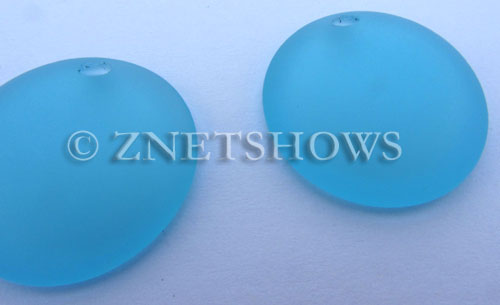 Cultured Sea Glass concaved coin Pendants  <b>25mm</b> 28-Turquoise Bay Bottle bottom style  per  <b>12-pc-bag</b>