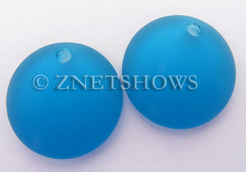 Cultured Sea Glass concaved coin Pendants  <b>25mm</b> 30-Pacific Blue Bottle bottom style  per  <b>12-pc-bag</b>