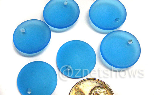 Cultured Sea Glass concaved coin Pendants  <b>18mm</b> 30-Pacific Blue earring size   per  <b>6-pc-bag</b>