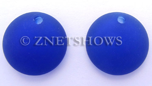Cultured Sea Glass concaved coin Pendants  <b>25mm</b> 33-Royal Blue Bottle bottom style  per  <b>12-pc-bag</b>