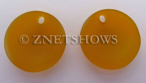 Cultured Sea Glass concaved coin Pendants  <b>25mm</b> 57-Saffron Yellow Bottle bottom style  per  <b>12-pc-bag</b>