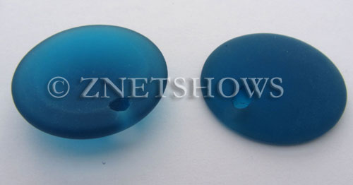 Cultured Sea Glass concaved coin Pendants  <b>25mm</b> 82-Teal Bottle bottom style  per  <b>12-pc-bag</b>