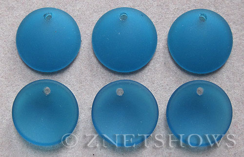 Cultured Sea Glass concaved coin Pendants  <b>18mm</b> 82-Teal concaved - earring size   per  <b>6-pc-bag</b>