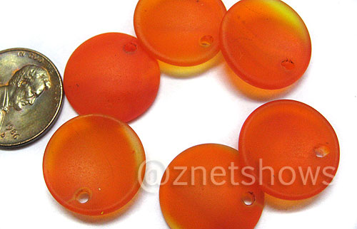 Cultured Sea Glass concaved coin Pendants  <b>18mm</b> 83-Tangerine earring size   per  <b>6-pc-bag</b>