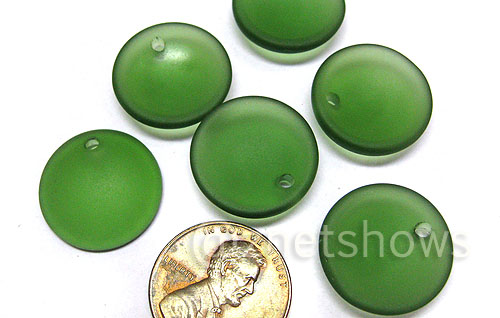 Cultured Sea Glass concaved coin Pendants  <b>18mm</b> 25-Shamrock earring size   per  <b>6-pc-bag</b>