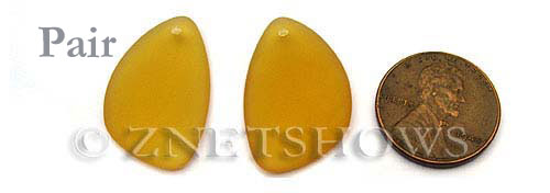 Cultured Sea Glass eclipse Pendants  <b>25x17mm</b> 16-Desert Gold   per  <b>pair</b>