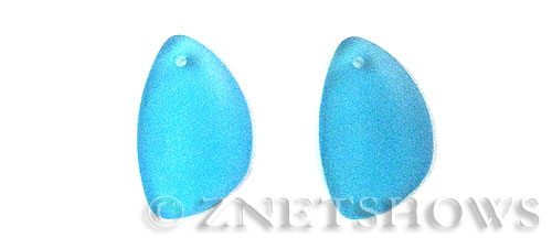 Cultured Sea Glass eclipse Pendants  <b>25x17mm</b> 30-Pacific Blue teardrop nugget matching earring right side   per  <b>10-pc-pack</b>