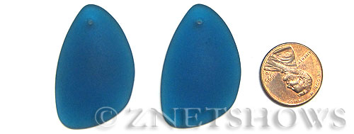 Cultured Sea Glass eclipse Pendants  <b>36x24mm</b> 82-Teal teardrop nugget   per  <b>piece</b>
