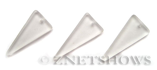 Cultured Sea Glass shield Pendants  <b>37x15mm</b> 01-Crystal triangle   per  <b>10-pc-bag</b>