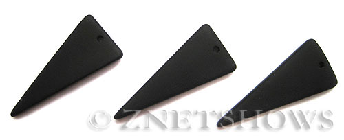 Cultured Sea Glass shield Pendants  <b>37x15mm</b> 02-Jet Black triangle   per  <b>10-pc-bag</b>