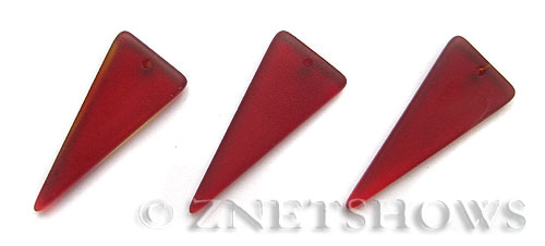 Cultured Sea Glass shield Pendants  <b>37x15mm</b> 05-Cherry Red triangle   per  <b>10-pc-bag</b>