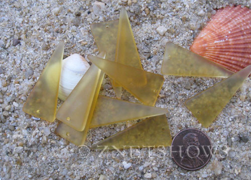 Cultured Sea Glass shield Pendants  <b>37x15mm</b>  16-Desert Gold    per  <b>10-pc-bag</b>