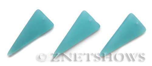 Cultured Sea Glass shield Pendants  <b>37x15mm</b> 46-Opaque Blue Opal triangle   per  <b>10-pc-bag</b>