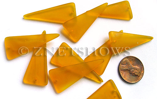 Cultured Sea Glass shield Pendants  <b>37x15mm</b> 57-Saffron Yellow triangle   per  <b>10-pc-bag</b>