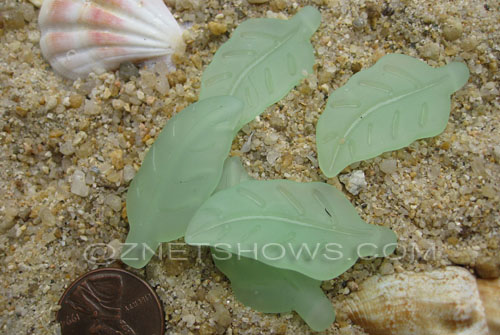 Cultured Sea Glass leaf Pendants  <b>33x17mm</b>  43-Opaque Seafoam Green    per  <b>5-pc-bag</b>