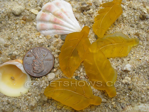 Cultured Sea Glass leaf Pendants  <b>33x17mm</b>  57-Saffron Yellow    per  <b>5-pc-bag</b>