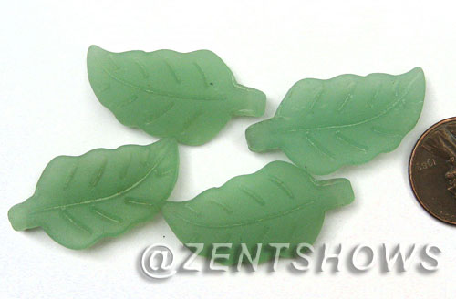 Cultured Sea Glass leaf Pendants  <b>33x17mm</b> 892-Opaque Seafoam Green    per  <b>5-pc-bag</b>