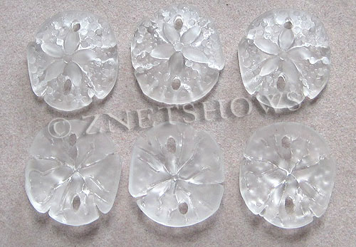 Cultured Sea Glass sand dollar Pendants  <b>21x19mm</b> 01-Crystal earring size   per  <b>6-pc-bag</b>