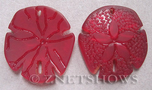 Cultured Sea Glass sand dollar Pendants  <b>40x36mm</b> 05-Cherry Red large    per  <b>2-pc-bag</b>