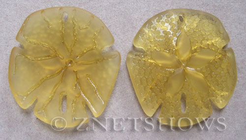 Cultured Sea Glass sand dollar Pendants  <b>40x36mm</b> 16-Desert Gold large    per  <b>2-pc-bag</b>