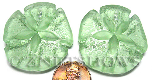 Cultured Sea Glass sand dollar Pendants  <b>40x36mm</b> 23-Peridot large   per  <b>2-pc-bag</b>