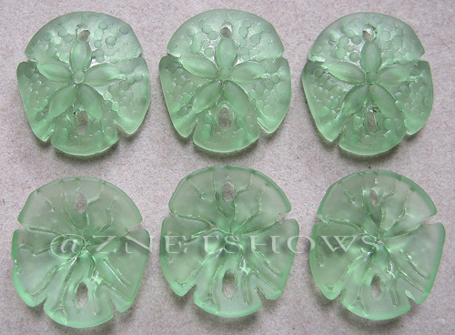 Cultured Sea Glass sand dollar Pendants  <b>21x19mm</b> 23-Peridot earring size   per  <b>6-pc-bag</b>