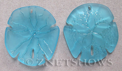 Cultured Sea Glass sand dollar Pendants  <b>40x36mm</b> 28-Turquoise Bay large    per  <b>2-pc-bag</b>