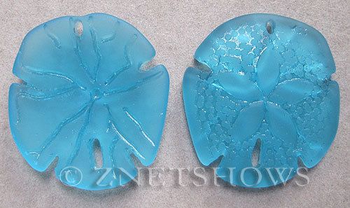Cultured Sea Glass sand dollar Pendants  <b>40x36mm</b> 30-Pacific Blue large    per  <b>2-pc-bag</b>