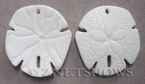 Cultured Sea Glass sand dollar Pendants  <b>40x36mm</b> 42-Opaque White large    per  <b>2-pc-bag</b>
