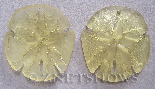 Cultured Sea Glass sand dollar Pendants  <b>40x36mm</b> 84-Lemon large    per  <b>2-pc-bag</b>