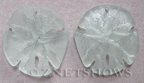 Cultured Sea Glass sand dollar Pendants  <b>40x36mm</b> 88-Light Aqua `Coke` bottle Seafoam large    per  <b>2-pc-bag</b>