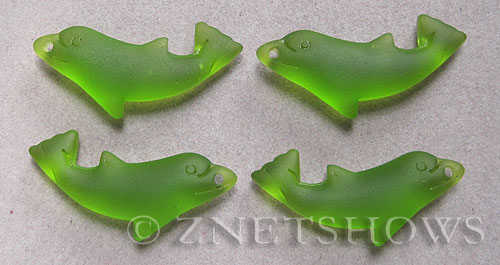 Cultured Sea Glass dolphin Pendants  <b>36x14mm</b> 22-Olive    per  <b>4-pc-bag</b>