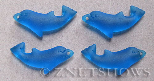 Cultured Sea Glass dolphin Pendants  <b>36x14mm</b> 30-Pacific Blue    per  <b>4-pc-bag</b>