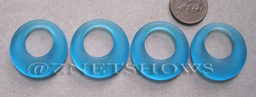 Cultured Sea Glass donut-earring Pendants  <b>28mm</b> 30-Pacific Blue    per  <b>4-pc-bag</b>